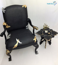 Load image into Gallery viewer, black luxury gold silver armchair chair