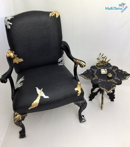 black luxury gold silver armchair chair