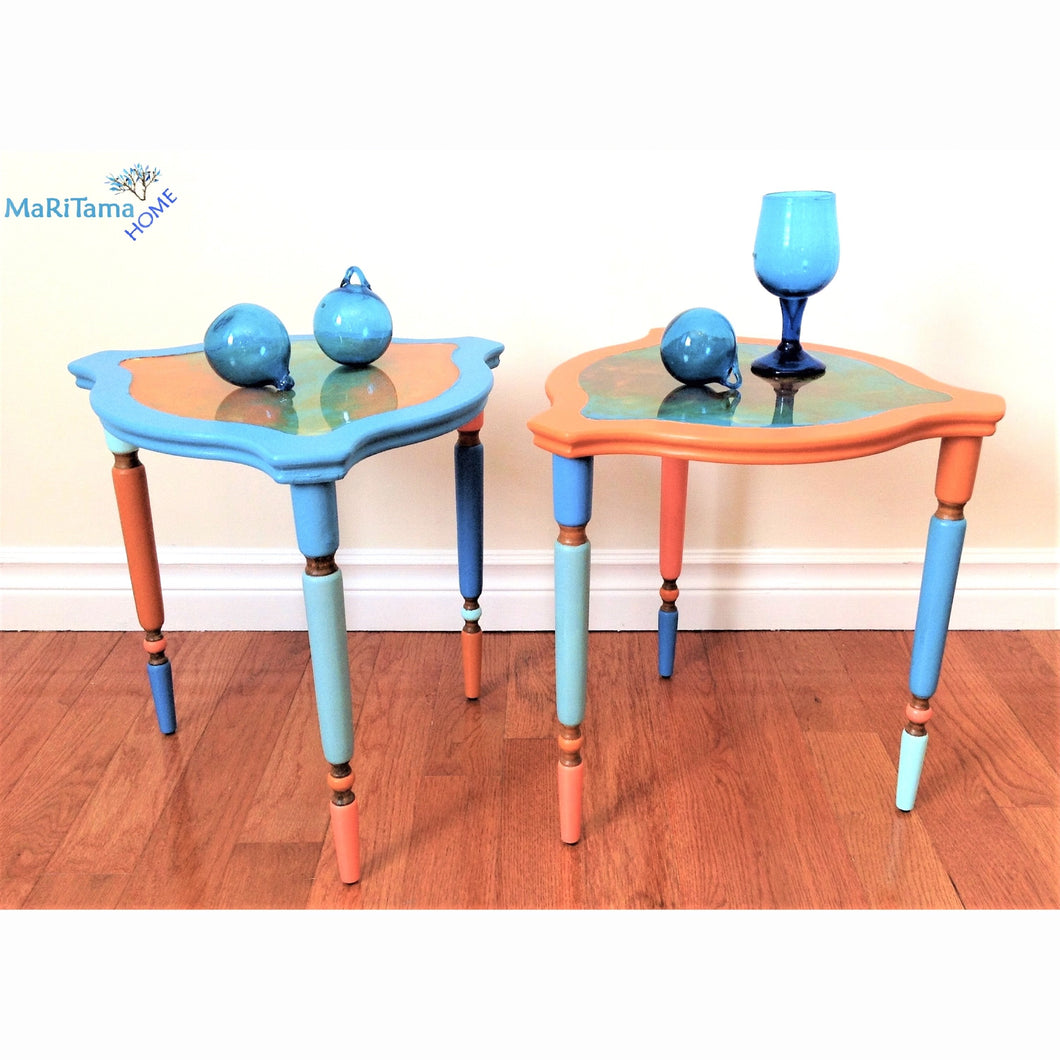 Mix Match Resin Top Side table Set - Furniture MaRiTama HOME