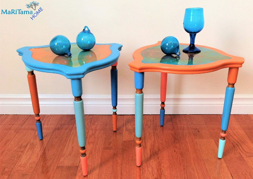 MaRiTama HOME resin top orange blue accent side end table set