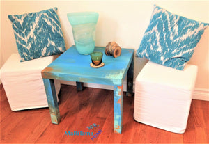 MaRiTama HOME Myconos blue coastal farmhouse side end accent table