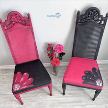 Load image into Gallery viewer, Pink & Black French Provincial Antique Cane Flower Chair Set - Furniture MaRiTama HOME