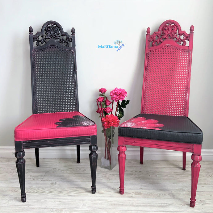 Pink & Black French Provincial Antique Cane Flower Chair Set - Furniture MaRiTama HOME