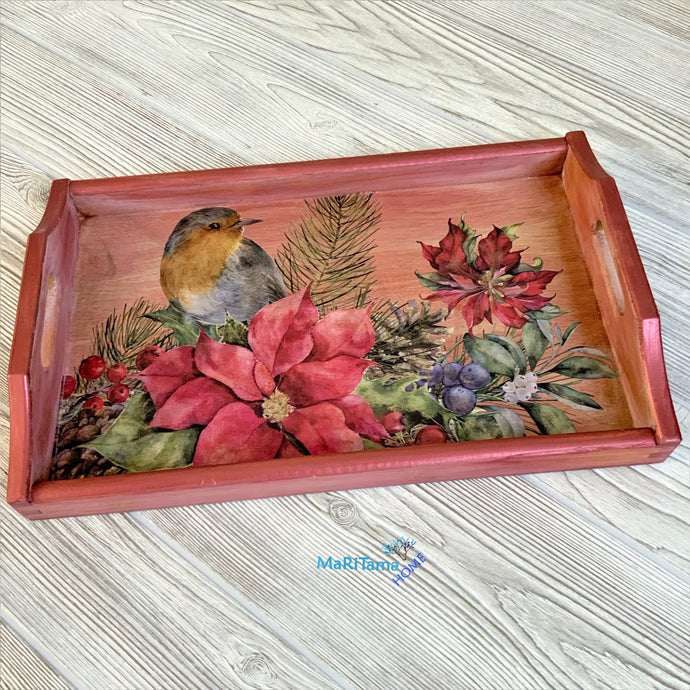 Red Wooden Christmas Tray - Home Decor MaRiTama HOME