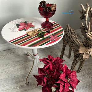 Small Foldable Red Poinsettia Accent Table - Furniture MaRiTama HOME