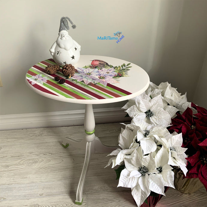Small Foldable White Poinsettia Accent Table - Furniture MaRiTama HOME