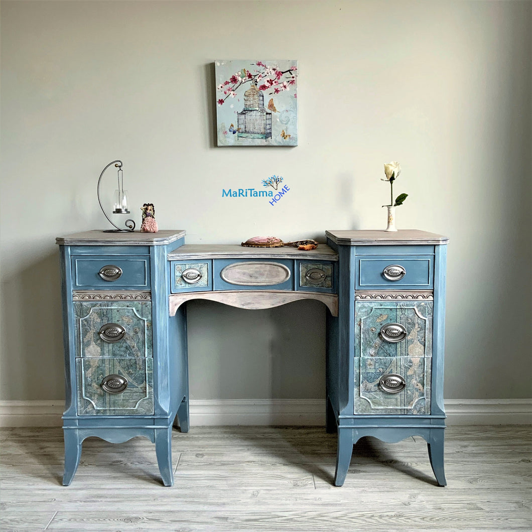 Vintage French Provincial Blue Vanity - Furniture MaRiTama HOME