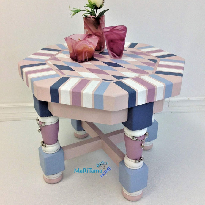 Whimsical Bedazzled Pink Accent Side Table - Furniture MaRiTama HOME