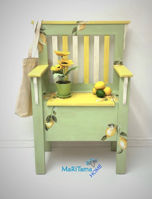 MaRiTama HOME green yellow lemon kitchen storage bench
