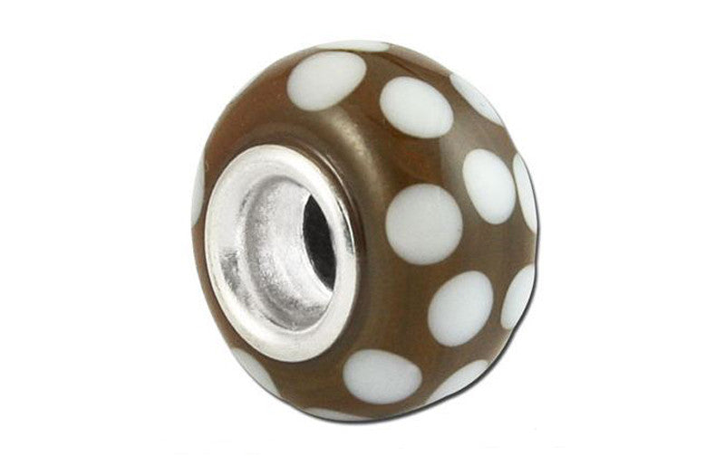 Polka Coffee Glass Bead - Brown