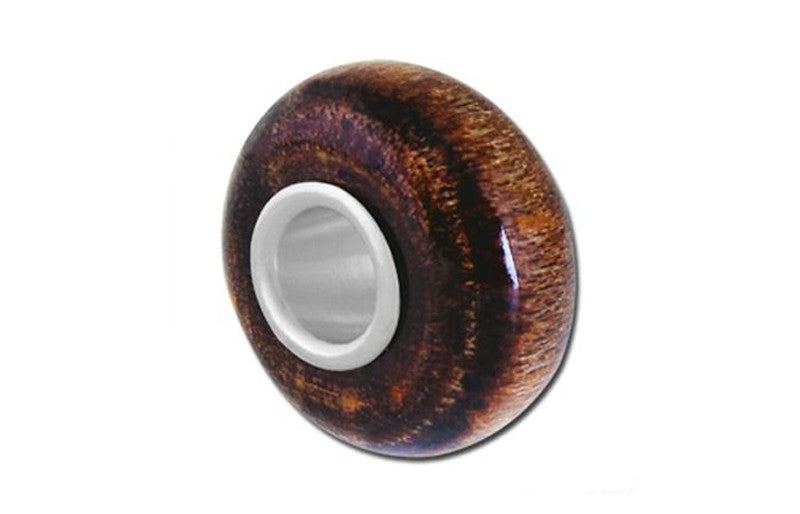 Wood Mahogany Glass Bead - Brown