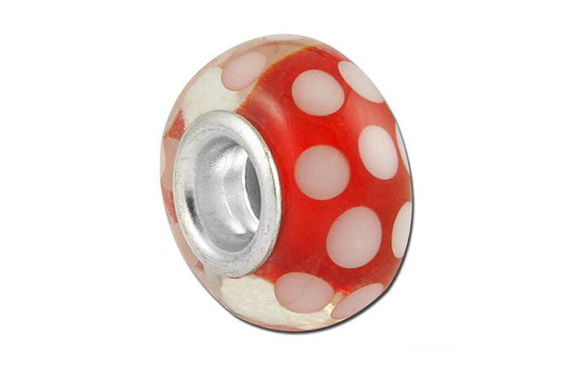 Polka Peppermint Glass Bead - Red