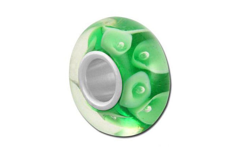 Green Lilies Glass Bead - Green