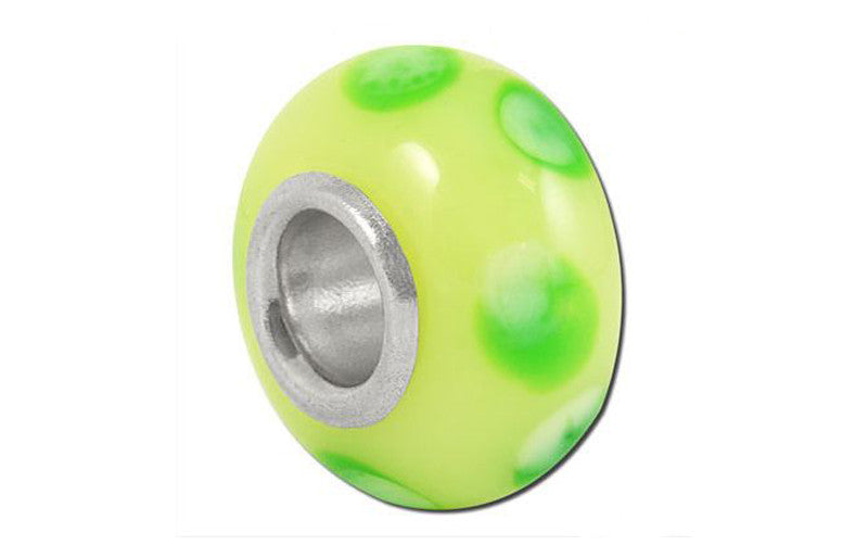 Lime Green Spots Glass Bead - Green