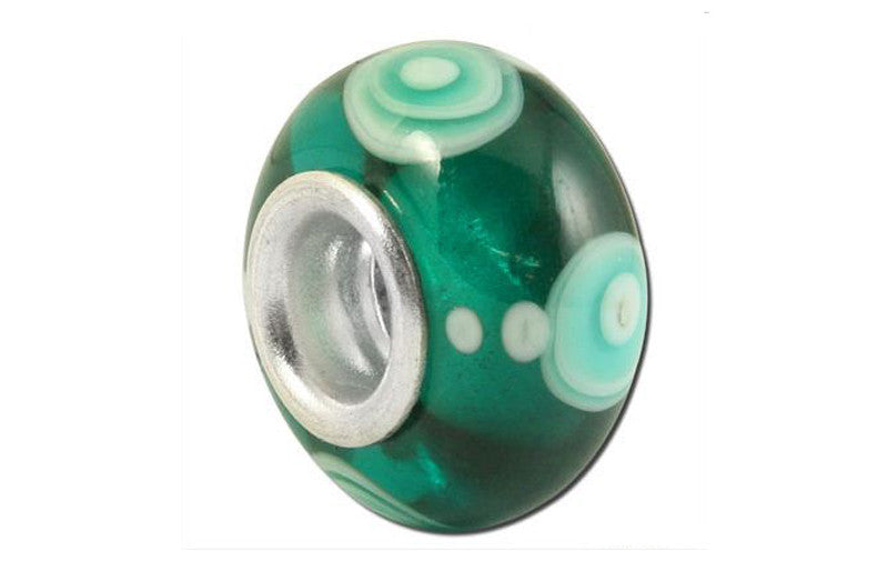 Emerald Circles Glass Bead - Green