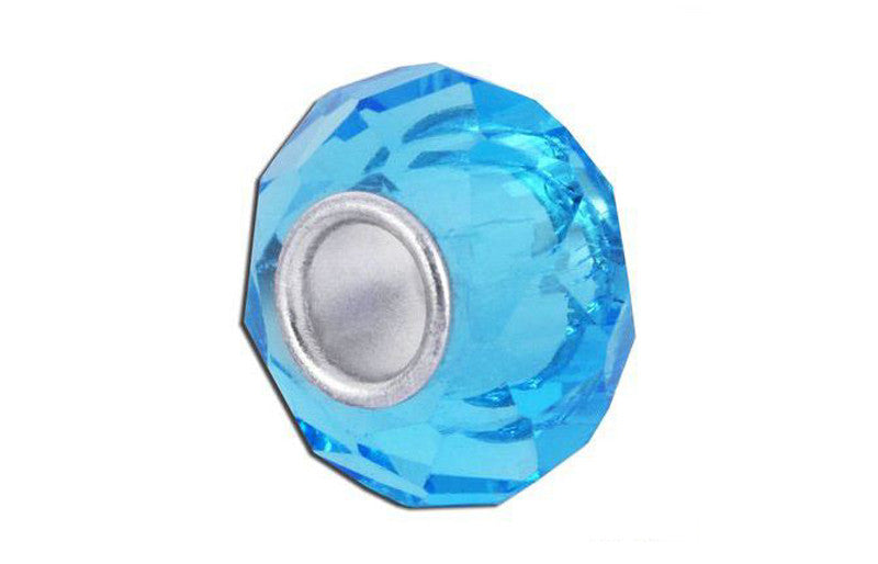 Aquamarine Faceted Glass Bead
