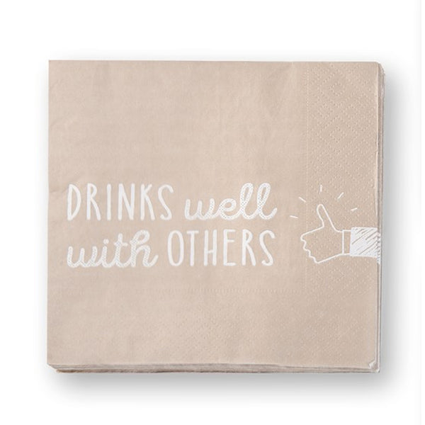 "Paper Cocktail Napkin, ""Drinks well with others"""