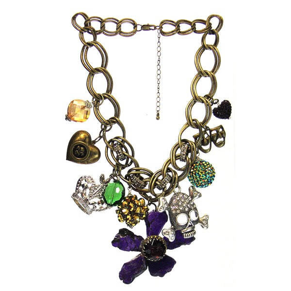 Amy Labbe Mardi Gras Necklace-Flower,Skull & Crown