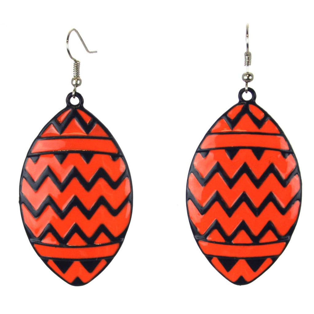 Chevron Football Earrings Orange/Blue