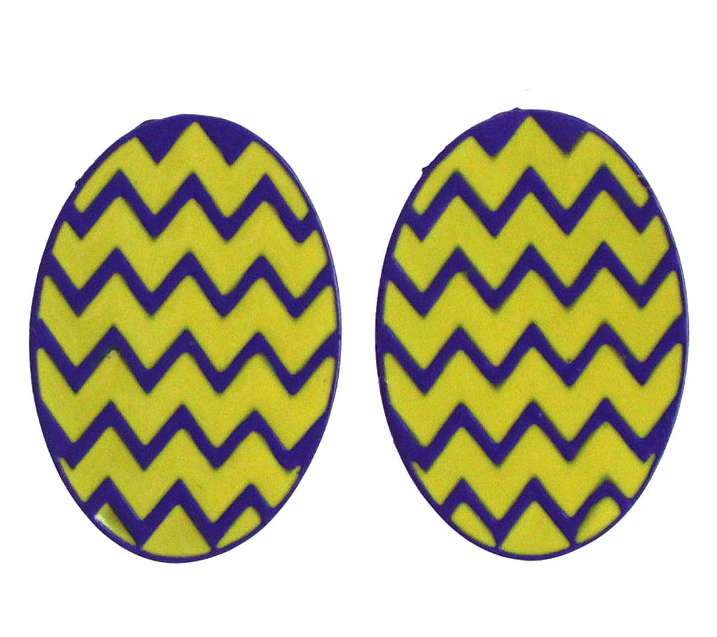 Chevron Oval Earrings Gold/Purple