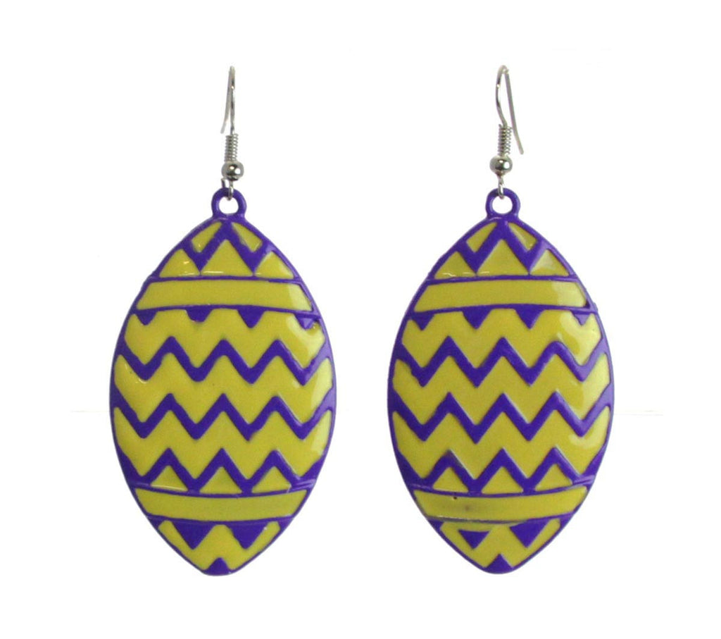 Chevron Football Earrings Gold Purple