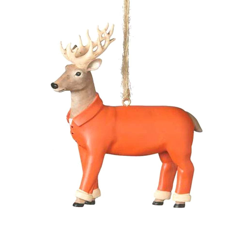 Hunter Orange Deer Ornament