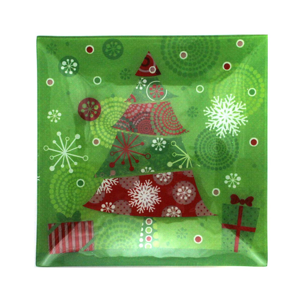 Christmas Glass Plate Green