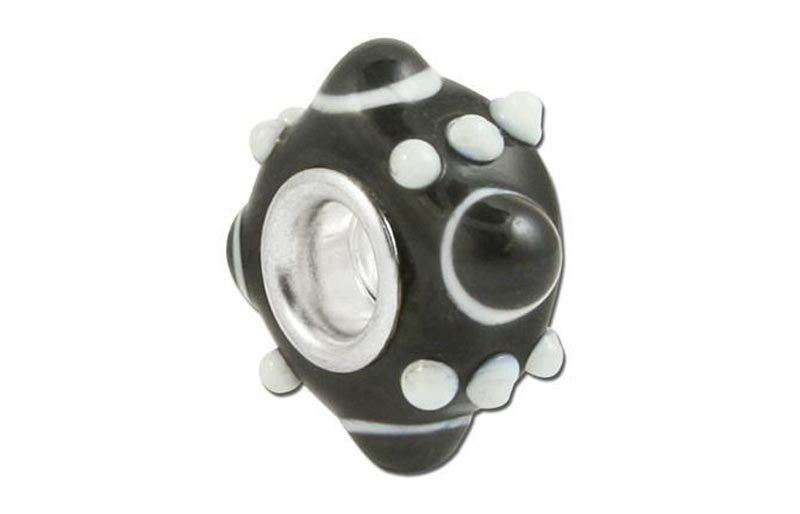 Black Orbit Glass Bead - Black