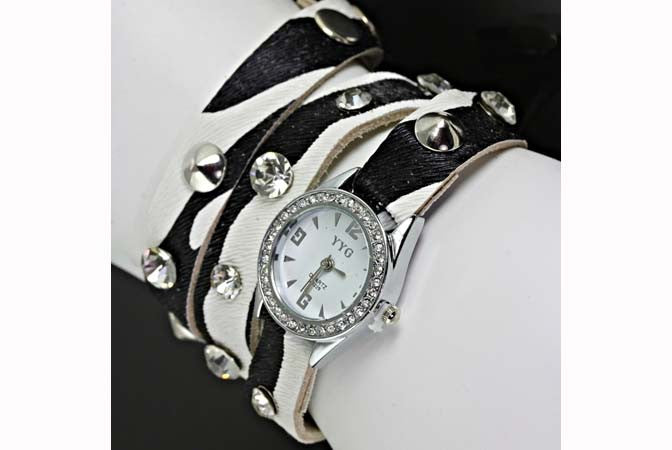 Layered Leather Wrap Band Watch Black & White