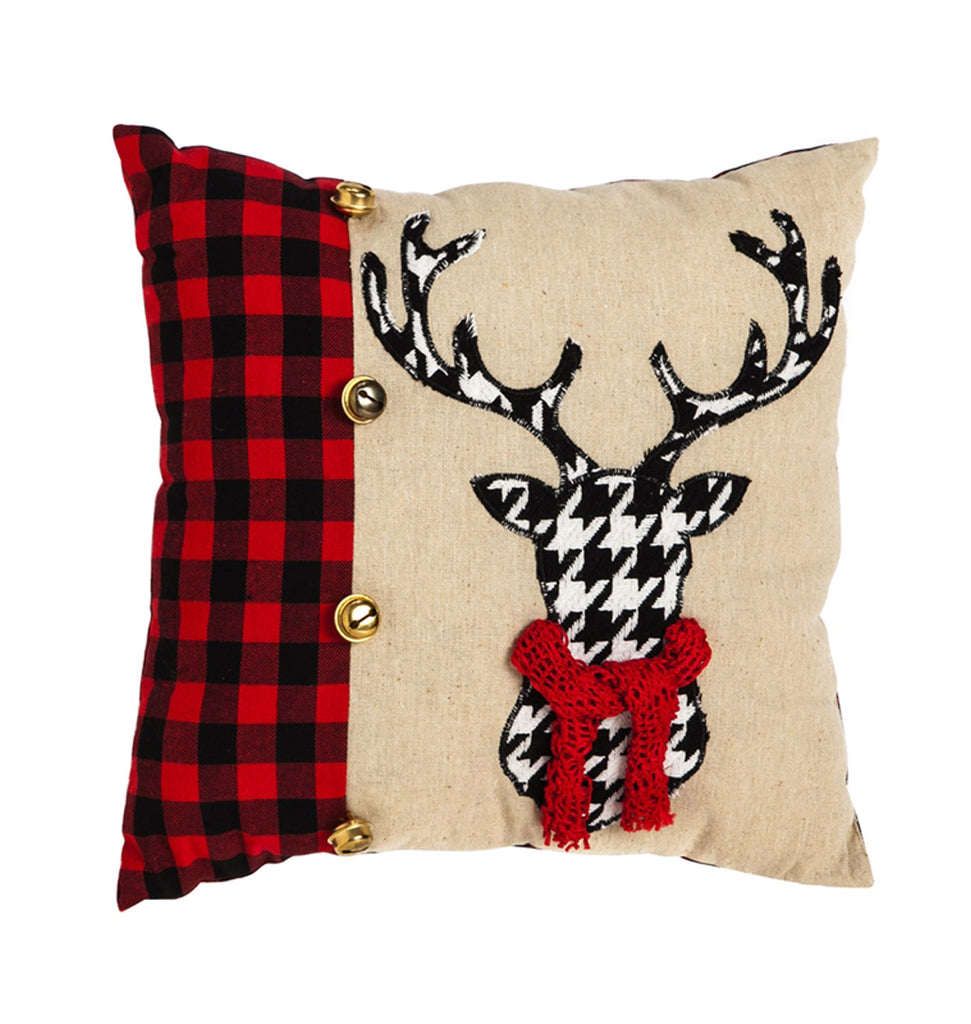 "Houndstooth Stag 13.5"" Pillow"