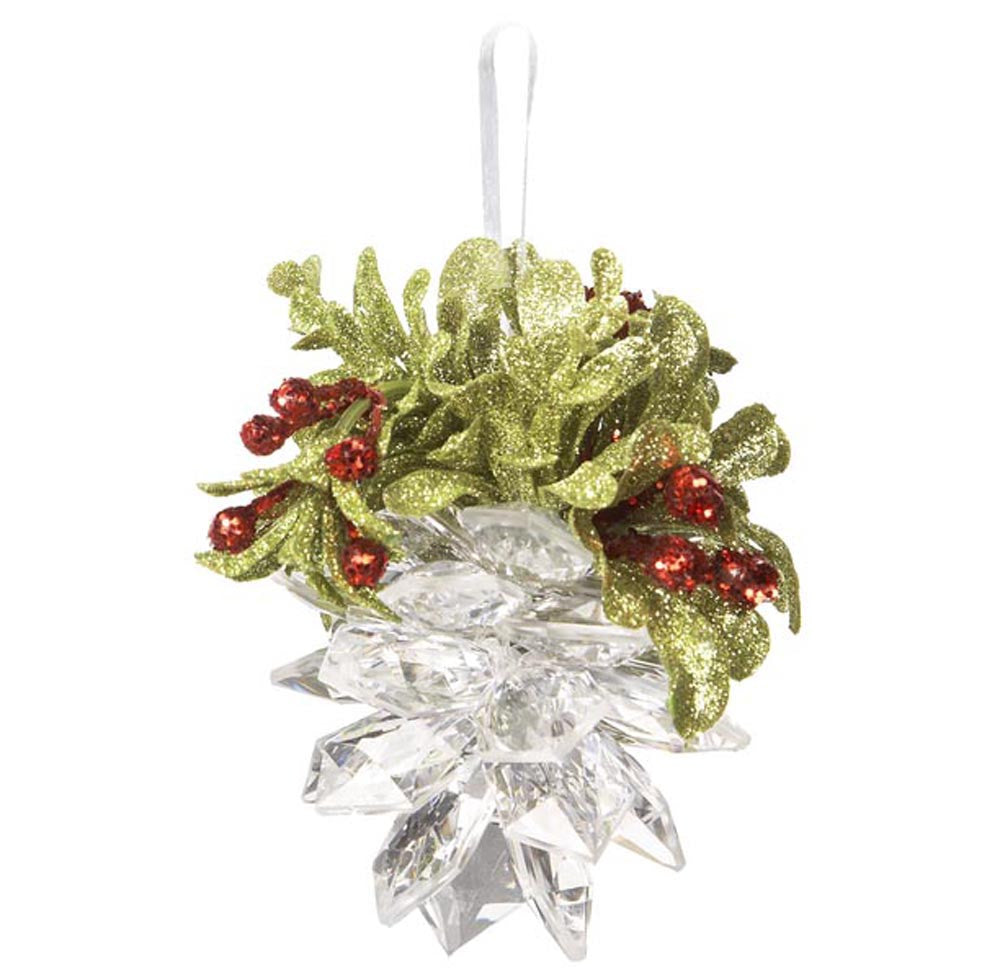 Mistletoe Crystal Pine Cone Ornament