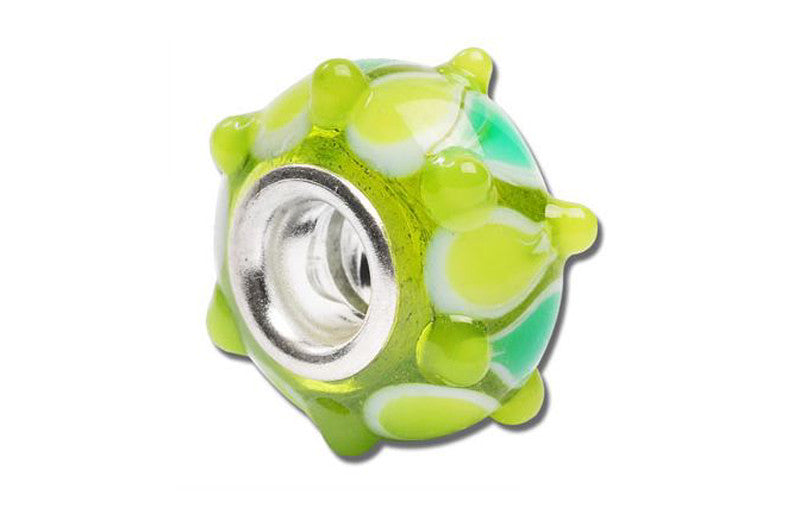 Green Go Round Glass Bead - Green