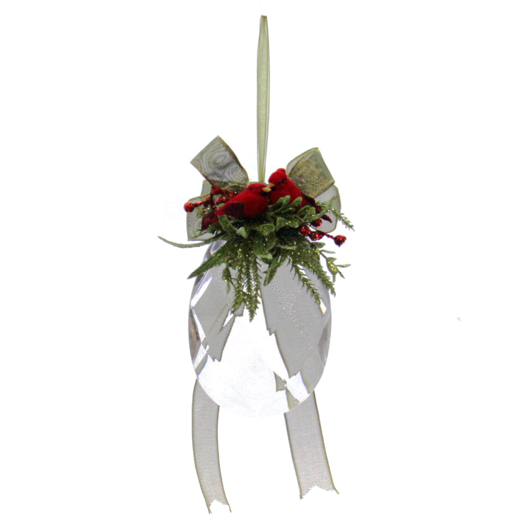 Kissing Krystal Mistletoe Cardinal Ornament Tear Drop