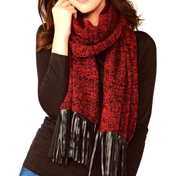 Scarf with Leather Fringe Red