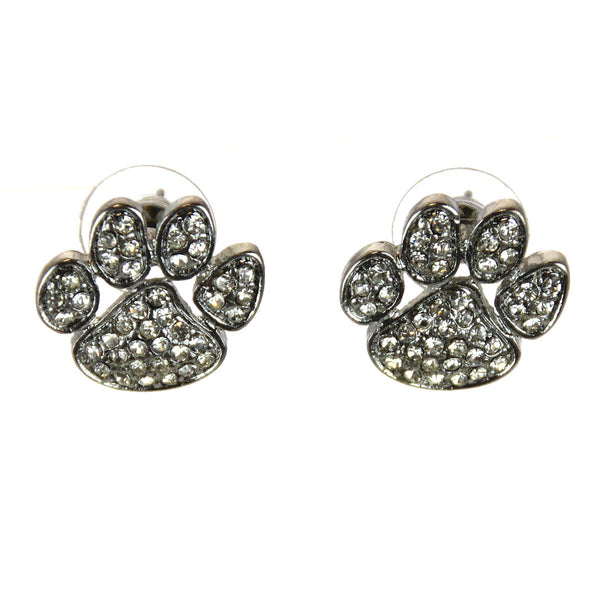 Tiger Paw Silver Earrings Crystals