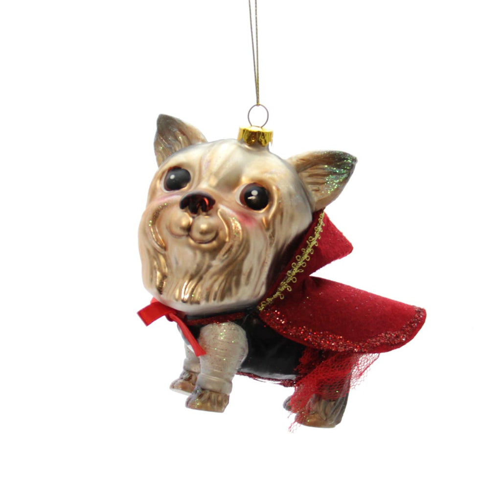 Yorkie with Red Cape Ornament