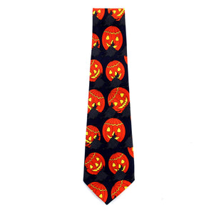 Halloween Tie Pumpkins & Witches Black/Navy