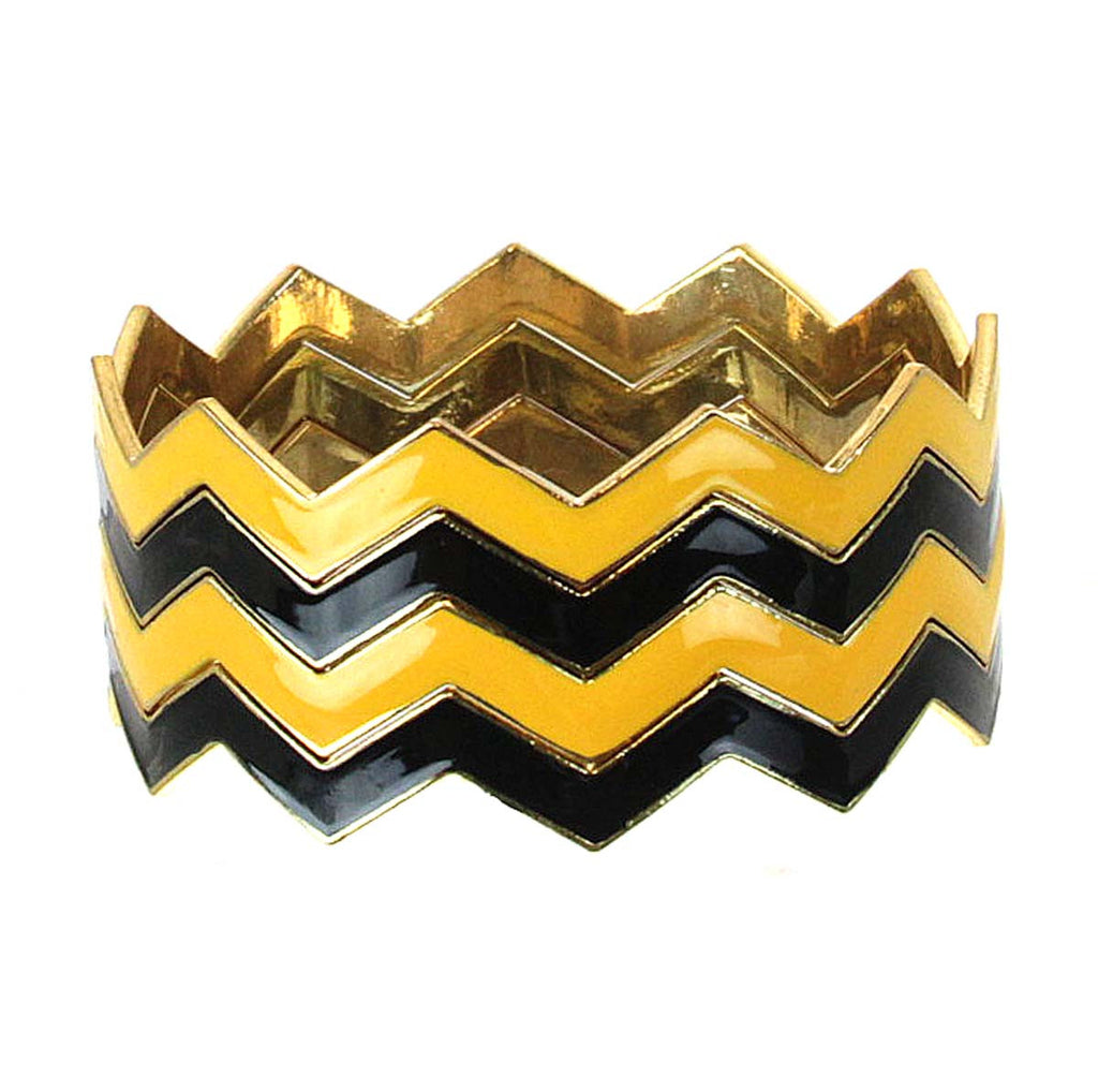 "Chevron Bracelets Black & Gold 2.75"" diameter"