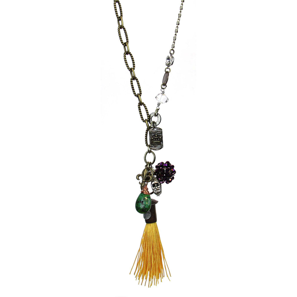 Amy Labbe Mardi Gras Necklace- Coins & Gold Tassel