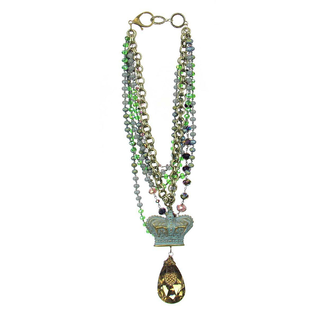 Amy Labbe Mardi Gras Necklace-Crown Pendant