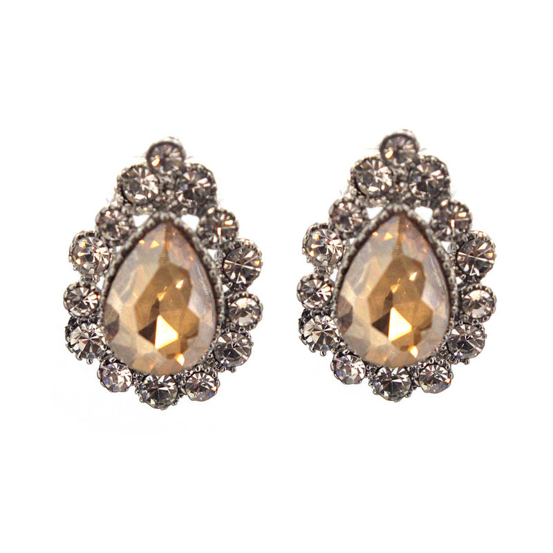 Pear Rhinestone Frame Earrings
