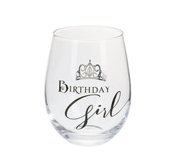 Tiara Girl Birthday Girl-Stemless Wine Glass
