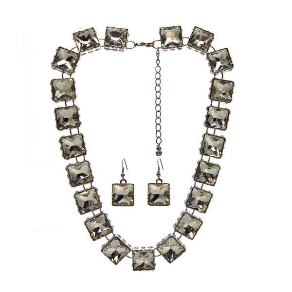 Square Cut Splendor Necklace Set