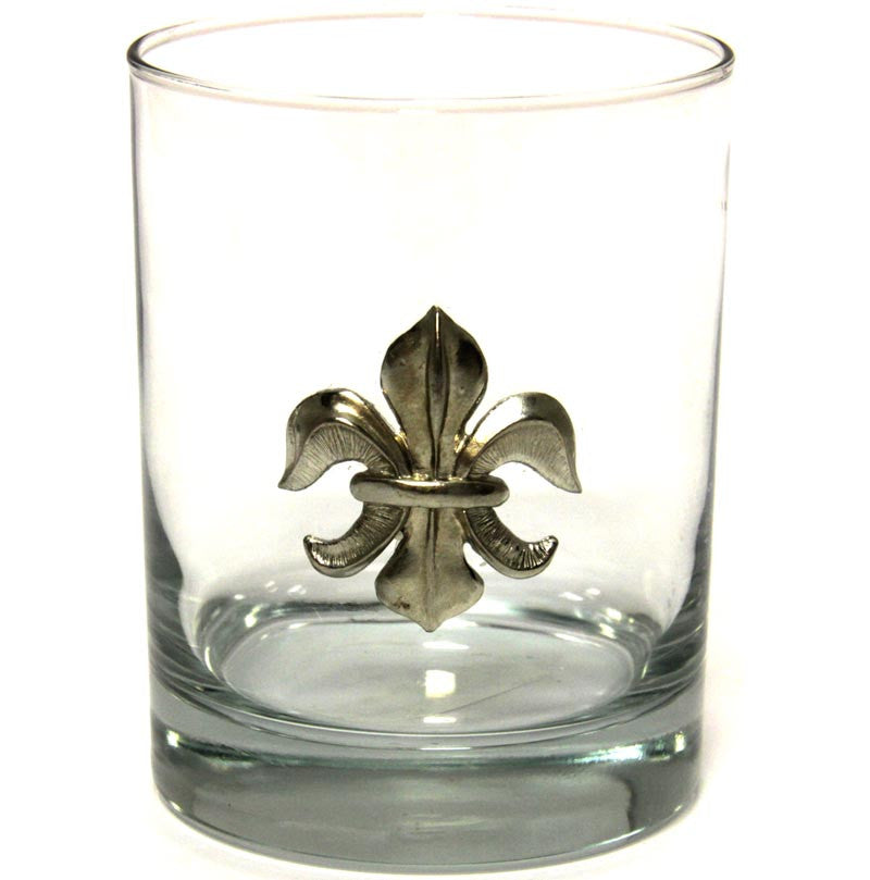Fleur De Lis Double Old Fashion Glass
