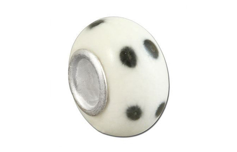 Spot On Glass Bead - White