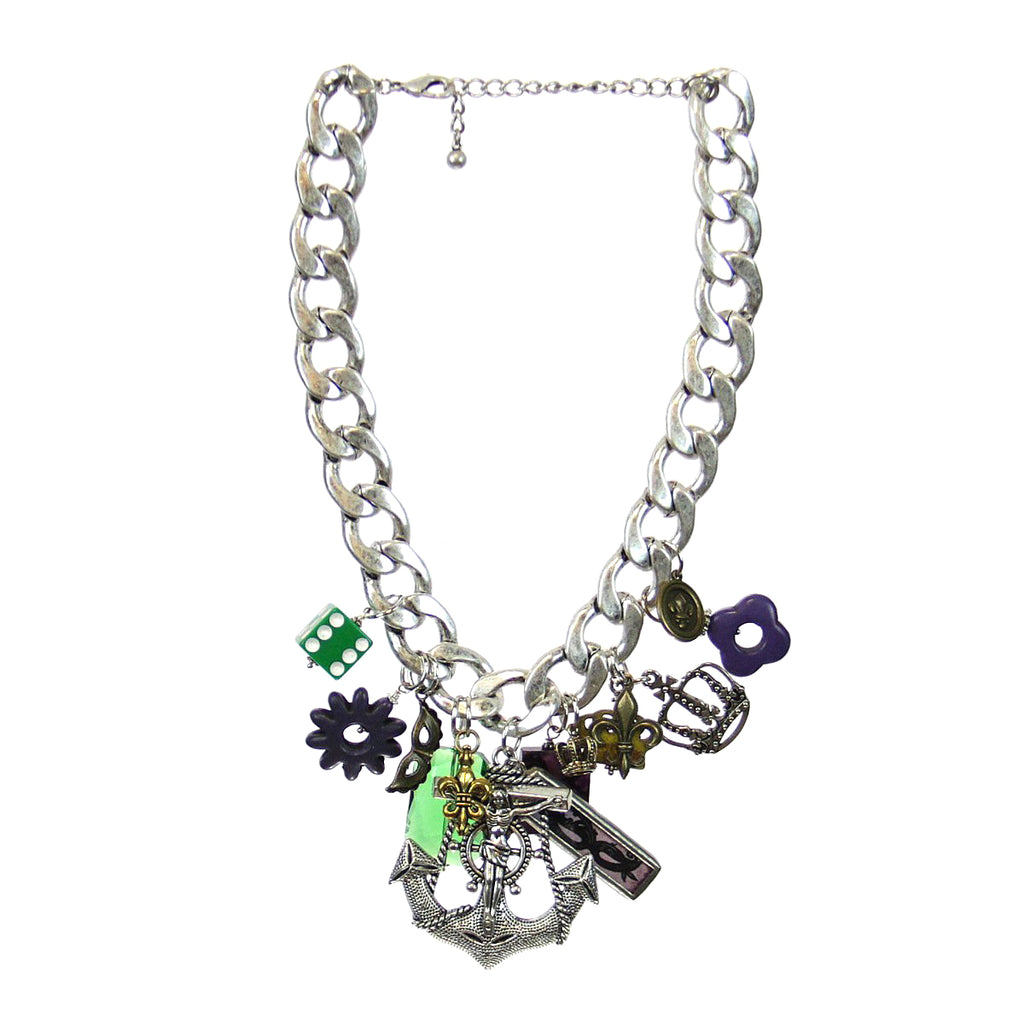 Amy Labbe Mardi Gras Necklace-Anchor Crucifix Pendant
