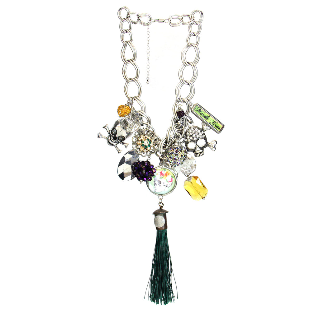 Amy Labbe Mardi Gras Necklace-Skull Tassel