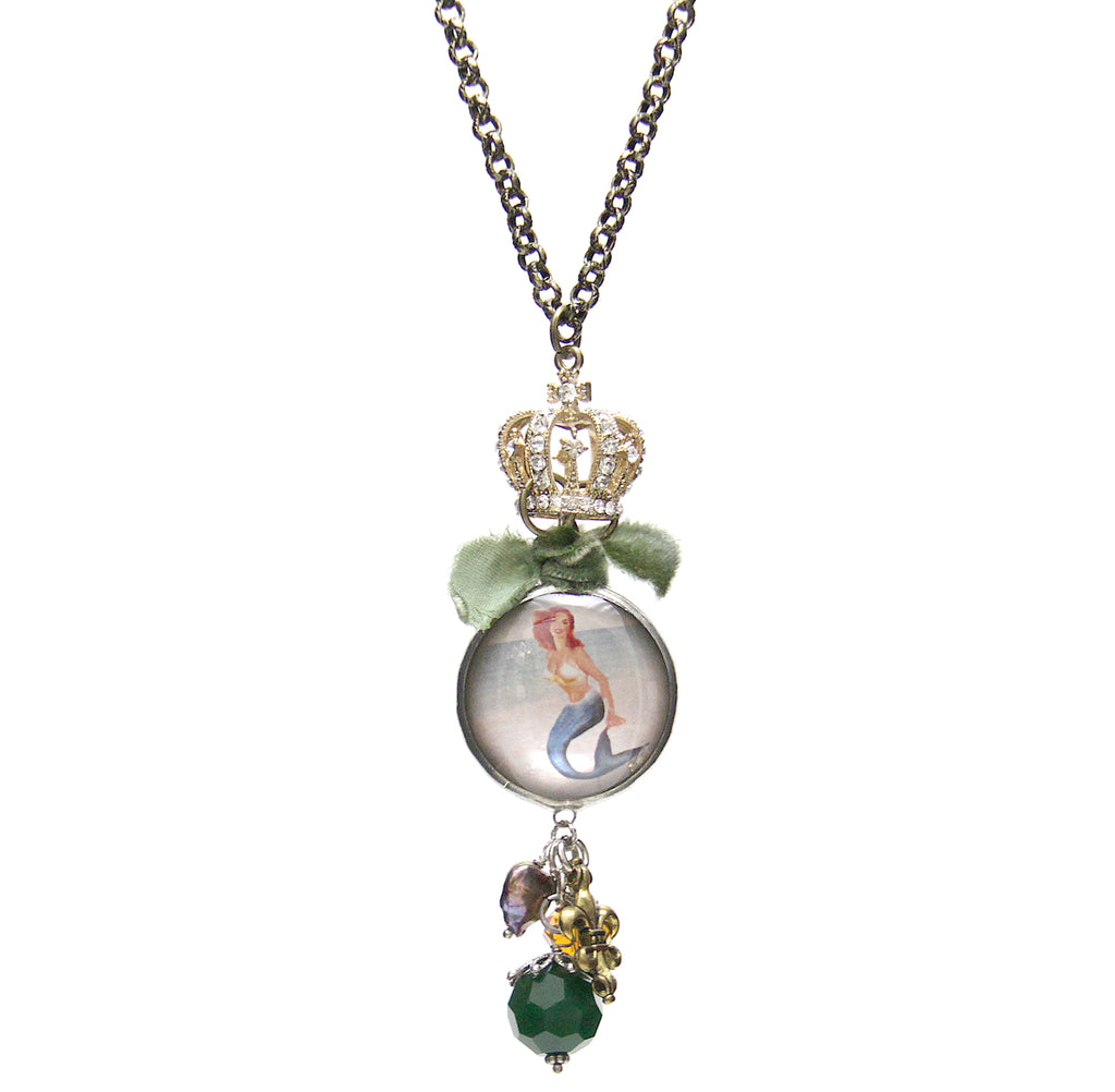 Amy Labbe Mardi Gras Necklace-Mermaid Pendant