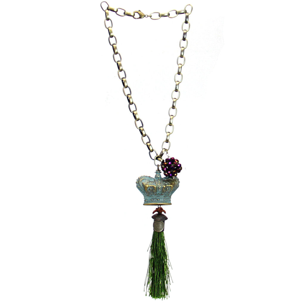 Amy Labbe Mardi Gras Necklace-Crown Tassel