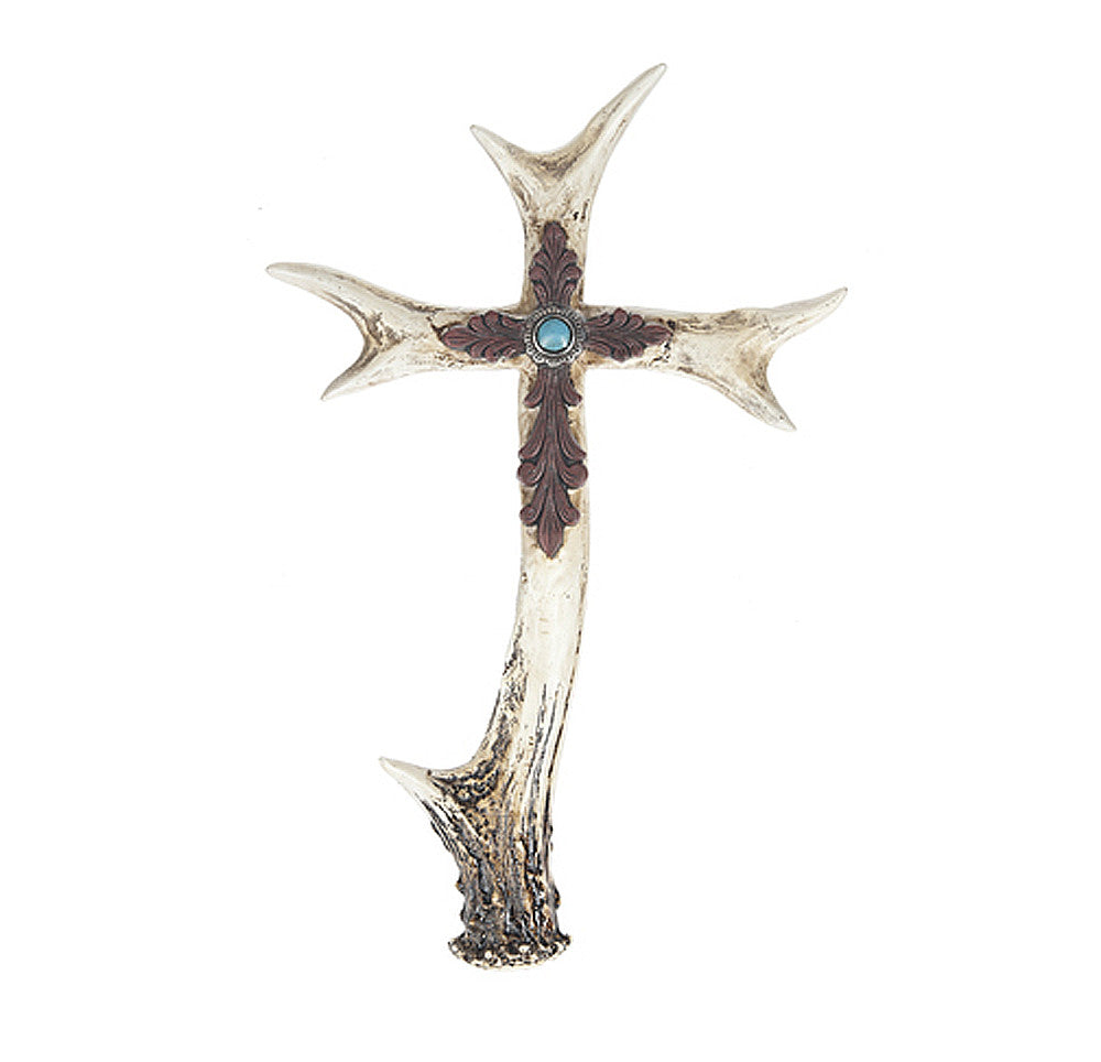 Outdoor Wall Cross Antler Turquoise